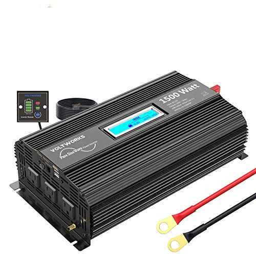 VOLTWORKS 1500W Pure Sine Wave Power Inverter DC 12v to AC 110v-120v with 4.8A Dual USB Ports 3 AC...