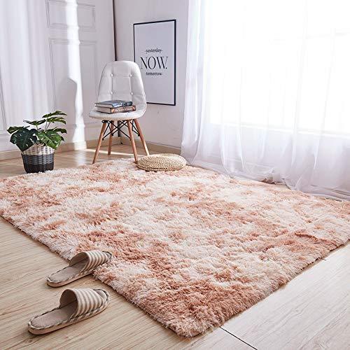 LARAKA Alfombra moderna y suave al tacto suave y esponjosa con chispa, lavable, grande para sala de estar, dormitorio, alfombra de piel sintética para decoración