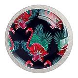 4 pomos de cristal para puerta de armario de armario, tiradores de cajones, hojas de hibisco verde flamenco