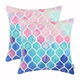 CaliTime Pack of 2 Cozy Throw Pillow Cases Covers for Couch Bed Sofa Farmhouse Manual Hand Painted Colorful Geometric Trellis Chain Print 18 X 18 Inches Main Pink Aqua Blue