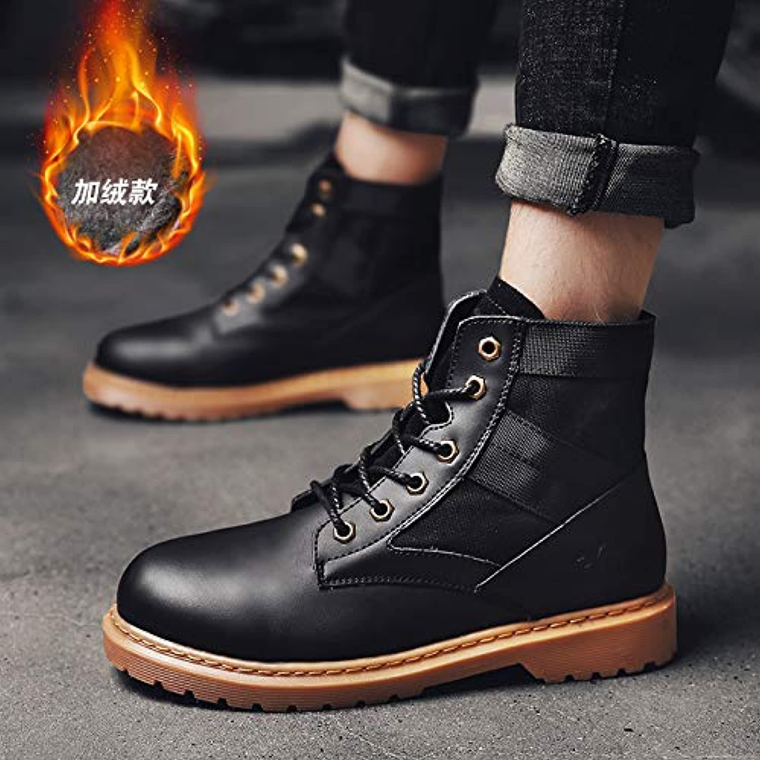 LOVDRAM Men'S shoes Martin Boots Men'S Fashion To Help Short Boots Autumn And Winter Wild Fashion High To Help Military Boots Tooling Men'S shoes Plus Cotton To Keep Warm