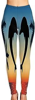 Cyloten Heart Shaped Dolphins Yoga Pants Women's Stretch Leggings Breathable High Waist Trousers Sportswear