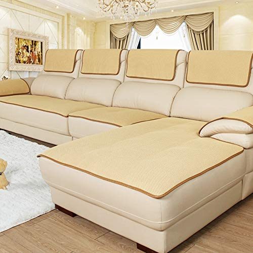 CClz Anti-rutsch Atmungsaktive Sofabezug Für Haustiere Hund, Sommer Sectional Sofa Sofa Überwurf Für Ledersofa Schmutzabweisend Möbel Protector-gelb 60x180cm(24x71inch)