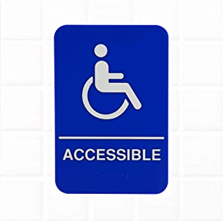 ADA Handicap Accessible Sign with Braille - Blue and White, 9 x 6-inches Handicap Accessible Sign for Door/Wall, ADA Compliant Restroom Signs/ADA Bathroom Signs by Tezzorio