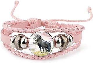iEay Bijoux Mode Bracelets Chaîne de Cuir, Beau Gemme brillant Noyau de Verre forme Joli cheval en cours d'exécution
