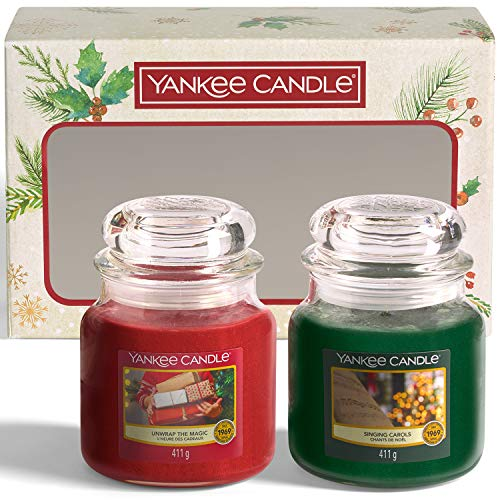 Yankee Candle Gift Set | 2 Medium Jar Christmas Scented Candles | Singing Carols and Unwrap the Magic Fragrances | Magical Christmas Morning Collection
