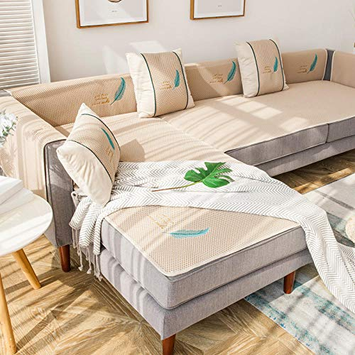 Homeen Funda de sofá seccional, funda de sofá de verano para sofá de cuero, funda de sofá de 2/3/4 plazas, fundas antideslizantes para asientos de sofá de salón, 70 x 210 cm