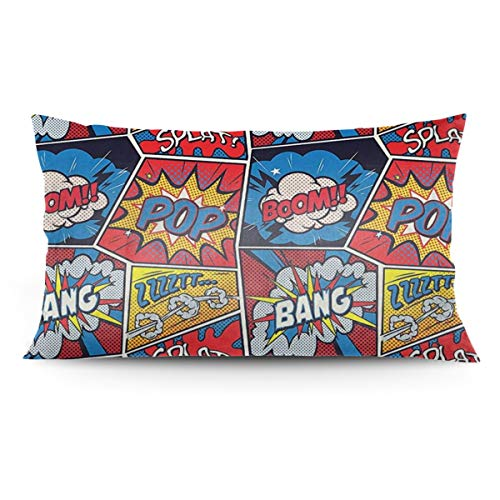 esln Funda de cojín Decorativa de poliéster para sofá, Banco o sofá, 20 x 36 Pulgadas, Estilo cómic de superhéroe