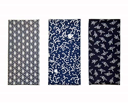 Yagisei Komon Tenugui Handtuch, hergestellt in Japan, 3-teiliges Set blau