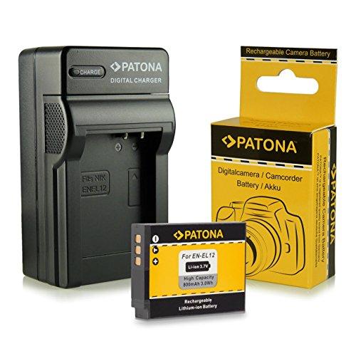 Cargador + Batería EN-EL12 para Nikon CoolPix AW100 | AW110 | P300 | P310 | P330 | S31 | S70 | S710 | S610 | S610c | S620 | S630 | S640 | S800c | S1000pj | S6100 | S6300 | S6400 | S8000 | S8100 | S9100 | S9200 | S9300 | S9400 | S9500