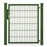 Valla doble 868 y puerta abatible Viktor. Altura 1,23 m postes con listón de 10 a 60 m antracita + verde musgo (37,5 m, verde musgo Ral 6005)