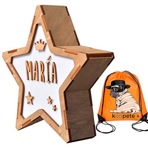 Koopete.Lámpara infantil de noche, para personalizar con tu nombre. Estrella decorativa de madera con luz. Lámpara bebe quitamiedos. Regalo niño personalizado.Obsequio de una mochila.