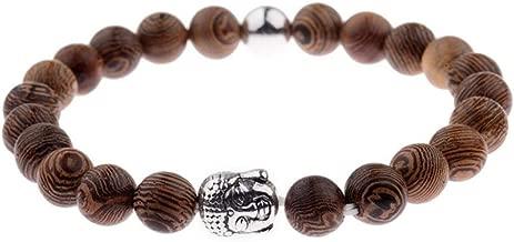 Wooden Beads Bracelet for Men Natural wood bracelets Alloy Beaded Strand Wrist Band Male Bracelet 2018 (7.5 Inch)