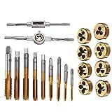 20pcs Aleación de acero M3-M12 Tornillo de rosca con tapones métricos grifos toque la llave dije set (Color : Gold)