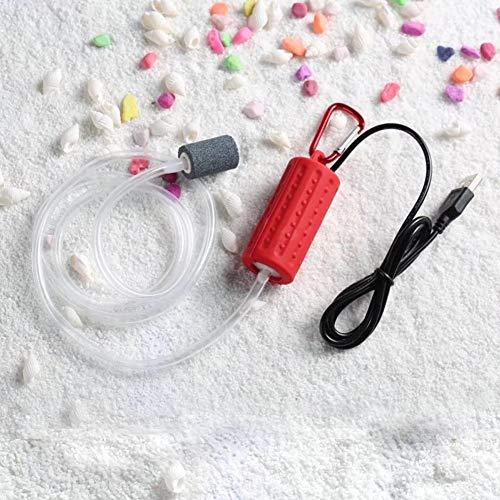 Adeeing Tragbare Mini-USB-Aquarium-Sauerstoff-Luftpumpe, leise, energiesparendes Zubehör, Rot