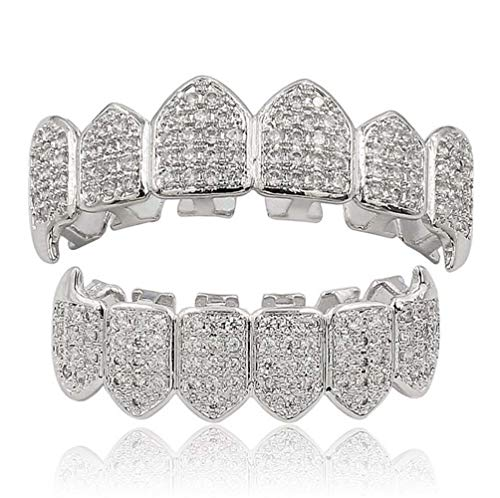 L&H Hip Hop Dental Grill Set Micro-Inlay Diamond Braces Vampire Teeth Grillz BBQ Fashion Jewelry Men und bemalt,Silver