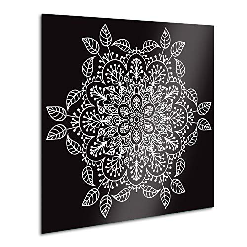 Vertikale Décoration Murale Tableau Alu Noir Mandala Fleuri Blanc 80 x 80 cm