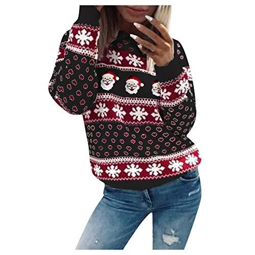 Zarupeng Damen Weihnachtspullover Reindeer Pullover Gestrickte Christmas Rundhalsausschnitt Drucken Lange Sleeve Weihnachten Sweatshirt Jumper