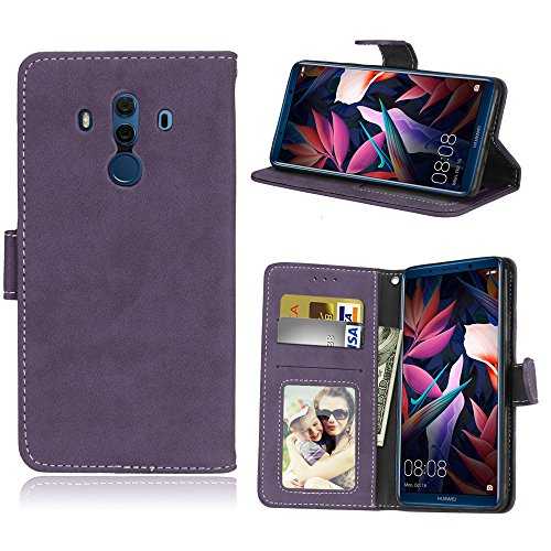 Funda Huawei Mate 10 Pro ALP-L09 ALP-L29 ALP-AL00 Case,Bookstyle 3 Card Slot PU Cuero Cartera para TPU Silicone Case Cover(Violeta)