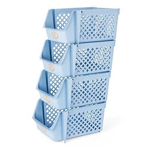 Titan Mall Stackable Storage Bins for Food, Snacks, Bottles, Toys, Toiletries, Plastic Storage Baskets Set of 4, 15x10x7 Inch/bin, All Blue Color, Storage Sins Stackable for Saving Place