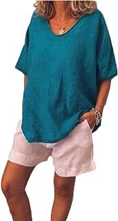 FSSE Womens Loose Plus Size O Neck Linen Tops Short Sleeve Blouse T-Shirts