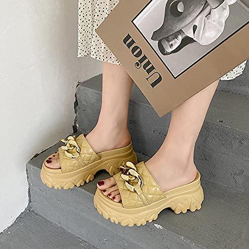 Perferct Zapatillas De Casa De Mujer Invierno,Zapatillas De La Cadena De La Cadena De Moda Roja Gruesa, Ropa De Verano De Las Mujeres 2021 Nuevas Versiones-UE 38 (24cm / 9.45')_Amarillo