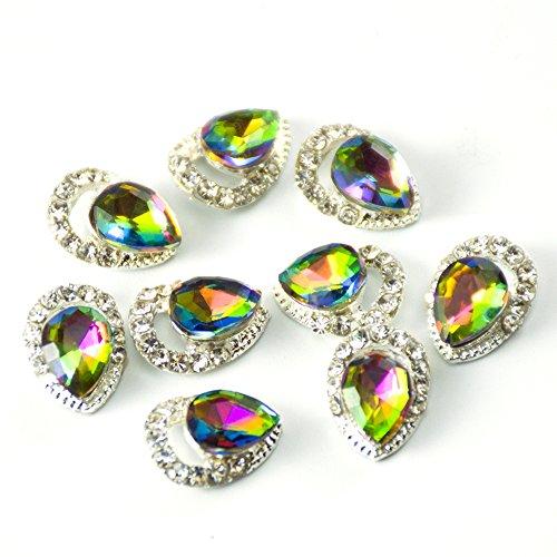 QIMYAR Nail Art 3D Alloy Flame Drill Gem Stones Rhinestone Crystal For Nails Decoration 0.24x0.39 inch 10Pcs