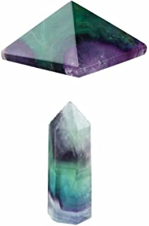 rockcloud Flourite Healing Crystal Point Faceted Prism Wand & Pyramid Carved Reiki Stone Figurine(Pack of 2)