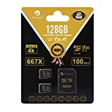 Amplim 2-Pack 128GB Micro SD SDXC Card Plus Adapter Pack - 2X 128 GB MicroSD Card V30 A1 U3 C10 Extreme Speed 100MB/s UHS-I TF XC MicroSDXC Memory Card for Cell Phone, Nintendo, Galaxy, Fire, Gopro