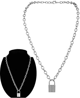 Daimay Alloy Choker Necklace Lock Pendant for Women Men Chunky Chain Punk Gothic Necklaces – Silver