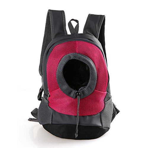 Tineer Al Aire Libre Transpirable Pet Dog Carrier Mochila Nylon Bolsa Delantera portátil de Viaje Pet Dog Bag Ajustable Malla de Hombro Pet Mochila Pet Head out (S, Rosa)