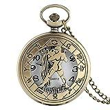 WLGQ Reloj de Bolsillo Reloj de Acuario extraño Hombres Mujeres Collar con Cadena Relojes de Bolsillo Colgante de constelación Regalos de cumpleaños Niños Amigo Retro Punk