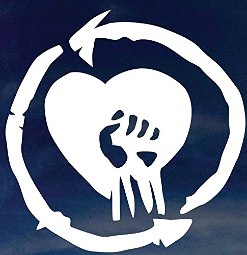 Heart Fist Symbol 5.5' Tall Custom Rise Against Decorative DIE Cut Decal - White