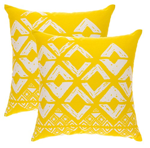 TreeWool - Pack de 2 - Fundas de cojín cuadradas con diseño geométrico en Lona de algodón (Amarillo y Blanco; 50 x 50 cm)