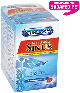 PhysiciansCare by First Aid Only Non-Drowsy Sinus Tablets, 10 mg, 50 Count