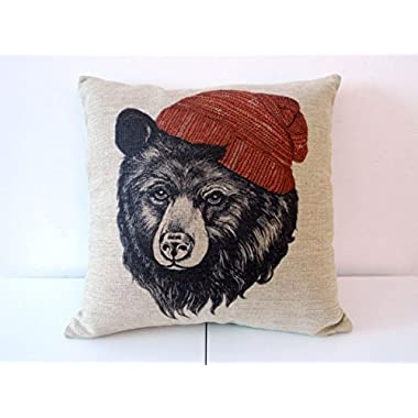Decorbox Cotton Linen Square Throw Pillow Case Decorative Cushion Cover Pillowcase for Sofa Animal Black Bear Wear Hat 18  X18