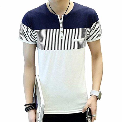 (メイク トゥ ビー) Make 2 Be スタイリッシュ スリットネック ストライプ スリム Tシャツ KB71(32.White_XL)