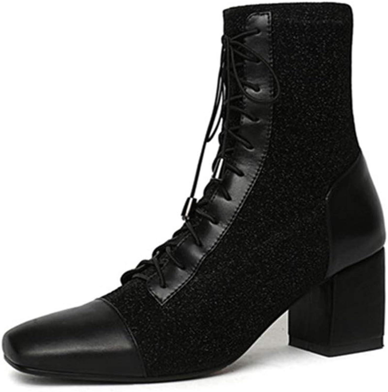 Mode Mode Mode Ankle stövlar kvinnor Square Toe Lace up Synthetic Cow läder stövlar Zip High klackar Autumn Winter stövlar  uppkopplad