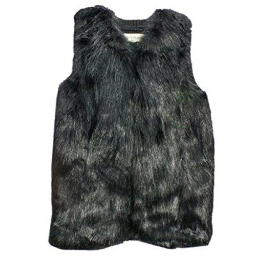 Sebby Collection Women's Faux Fur Fashion Vest (Small, Black)