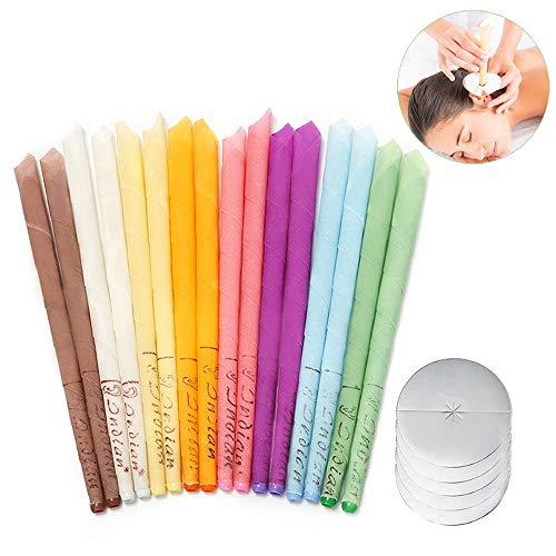 16 Stück Ohrkerzen, Bienenwachs kerzen - Ohrenschmalzentfernung-Ohrenkerzen Ohrenschmalzentfernung mit Schutzscheiben Ohrblocker mit 5 Ohr kerzenschalen, Entspannen und Reinigen