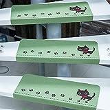 MINIU 階段マット 滑り止め エコ材質 消臭 防音対策 モダン調 折り曲げ 洗える 15枚入 (緑 ネコ柄)
