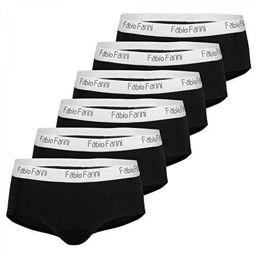 Fabio Farini Damen Pantys 6er Pack Hipster Panties aus Baumwolle, mit weiß abgesetztem Bund Schwarz Set S