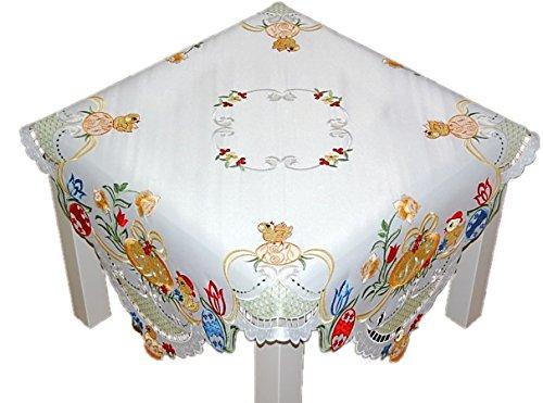 Espamira Küken Tischdecke 85x85 cm Ostern Osterdecke Mitteldecke Weiß Stickerei Bunt 100% Polyester