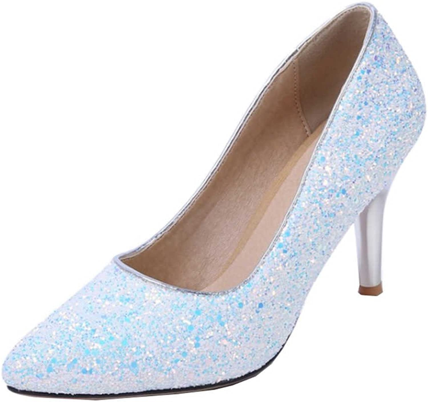 Onewus Uniform Dress shoes with Bling Materail and Thin Heel with Mini Large Size Available