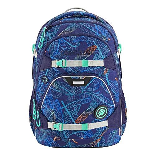 """coocazoo Schulrucksack ScaleRale """"Jungle Night"""", blau, ergonomischer Tornister, höhenverstellbar mit Brustgurt und Hüftgurt für Mädchen ab der 5. Klasse, 30 Liter"""