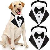 2 Piezas Pañuelos de Esmoquin Formal para Perro Collar de Bufanda con Pajarita de Mascotas de Boda Collar de Perro Negro Ajustable con Corbata Disfraz de Mascota para Ocasiones Formales