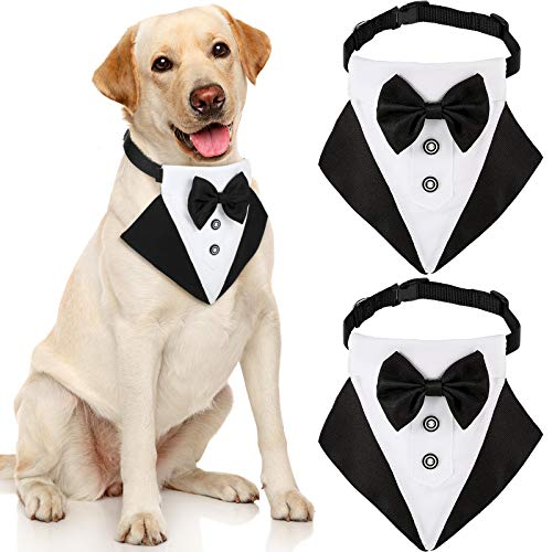 2 Stücke Formale Hund Smoking Bandana Haustier Hochzeit Fliege Schal Kragen Verstellbare Schwarze Hunde Halsband mit Krawatte Schwarze Haustier Kostüm Fliege Halstuch für Formale Anlässe (M)