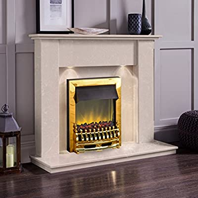 Cream Marble Stone Modern Wall Surround Electric LED Fireplace Suite Brass Electric Fire Moving Flame Effect Coals & Downlights