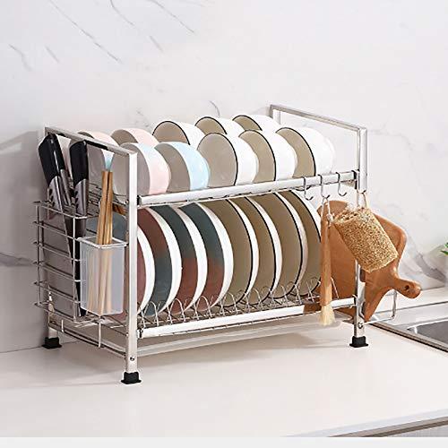 2 Nivel Acero Inoxidable Estante De Almacenamiento Del Organizador De La Cocina,Multiusos Soporte De Utensilios Sobre Sink,Estante De Secado De Platos Para Contador De Cocina-Plata 43x24.5x39cm(17x10x