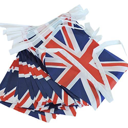 Selma. UK - 32 drapeaux carrés - Style vintage britannique - Simple - Élégant - Fanions de fête - Banderole pour extérieur et maison